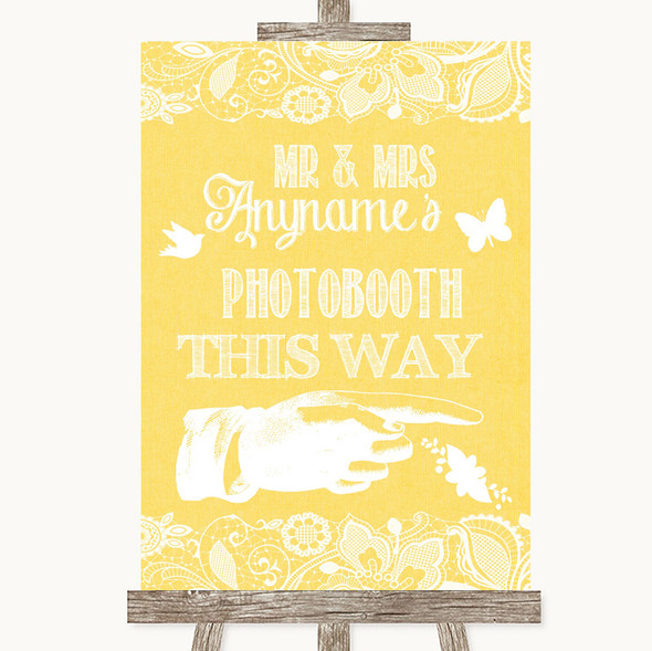 Yellow Burlap & Lace Photobooth This Way Right Personalised Wedding Sign