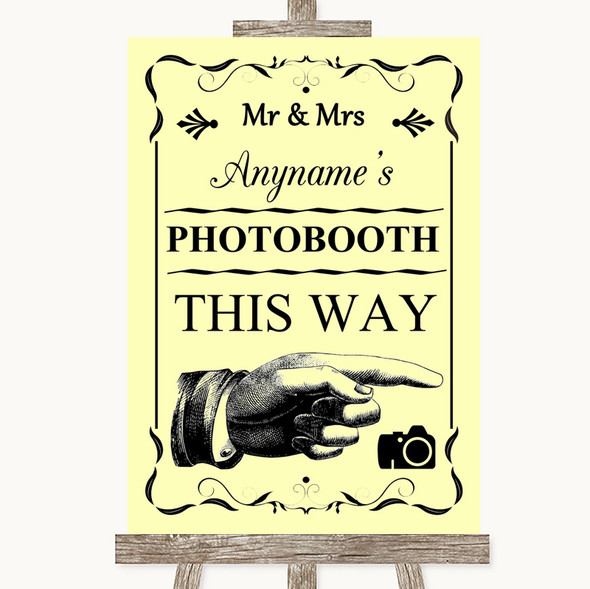 Yellow Photobooth This Way Right Personalised Wedding Sign