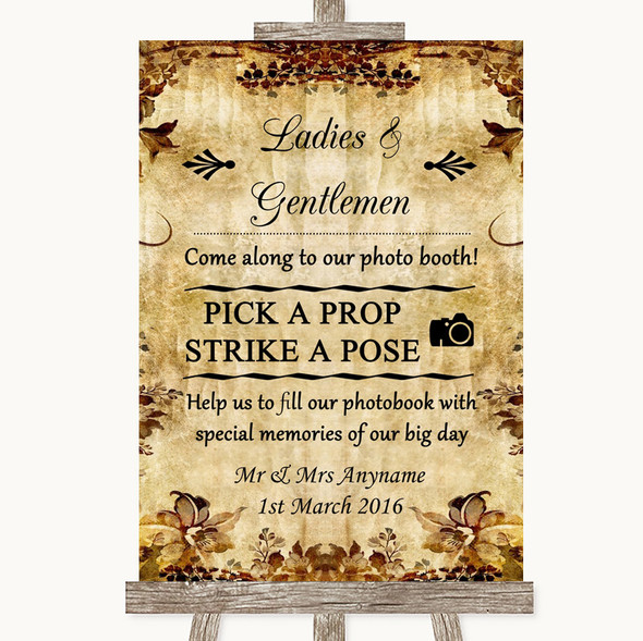 Autumn Vintage Pick A Prop Photobooth Personalised Wedding Sign