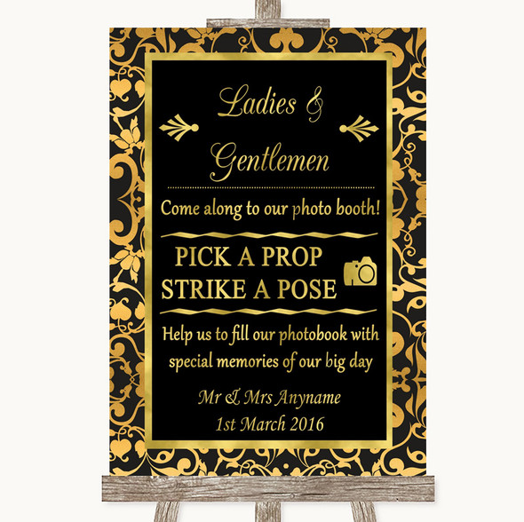 Black & Gold Damask Pick A Prop Photobooth Personalised Wedding Sign