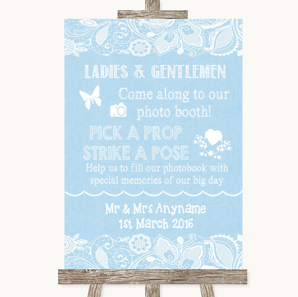 Blue Burlap & Lace Pick A Prop Photobooth Personalised Wedding Sign