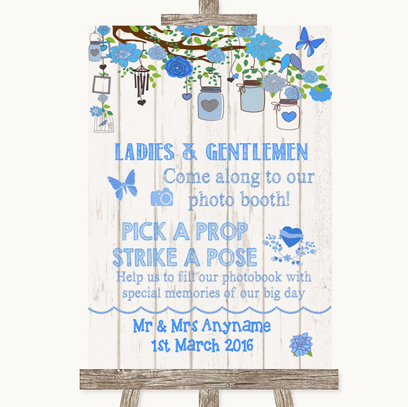 Blue Rustic Wood Pick A Prop Photobooth Personalised Wedding Sign