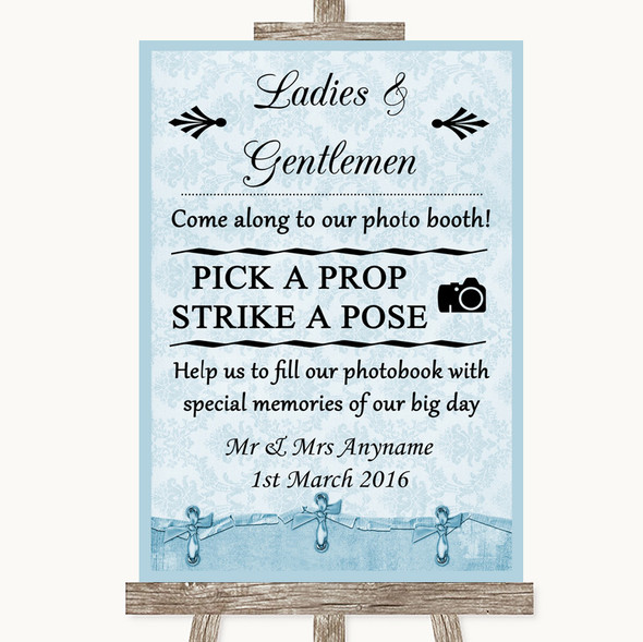 Blue Shabby Chic Pick A Prop Photobooth Personalised Wedding Sign