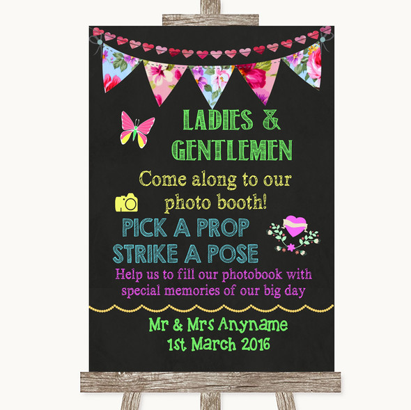 Bright Bunting Chalk Pick A Prop Personalised Wedding Sign