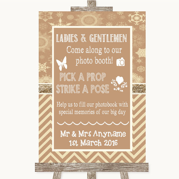 Brown Winter Pick A Prop Photobooth Personalised Wedding Sign