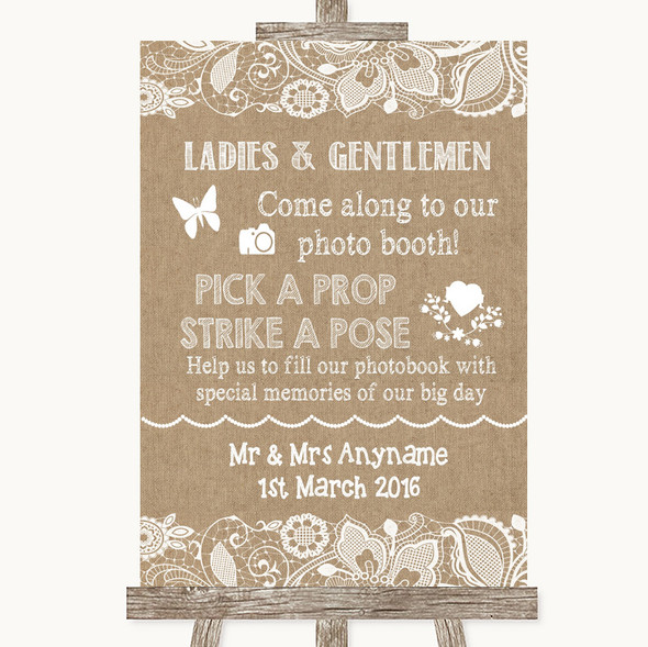 Burlap & Lace Pick A Prop Photobooth Personalised Wedding Sign