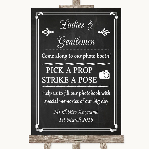 Chalk Style Pick A Prop Photobooth Personalised Wedding Sign