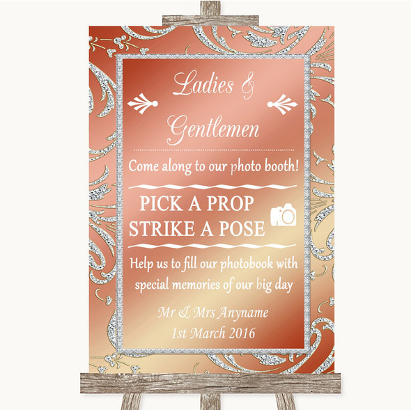 Coral Pink Pick A Prop Photobooth Personalised Wedding Sign