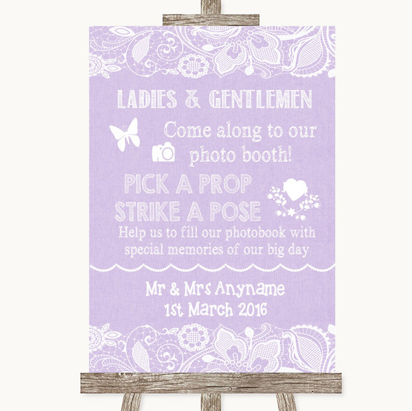 Lilac Burlap & Lace Pick A Prop Photobooth Personalised Wedding Sign