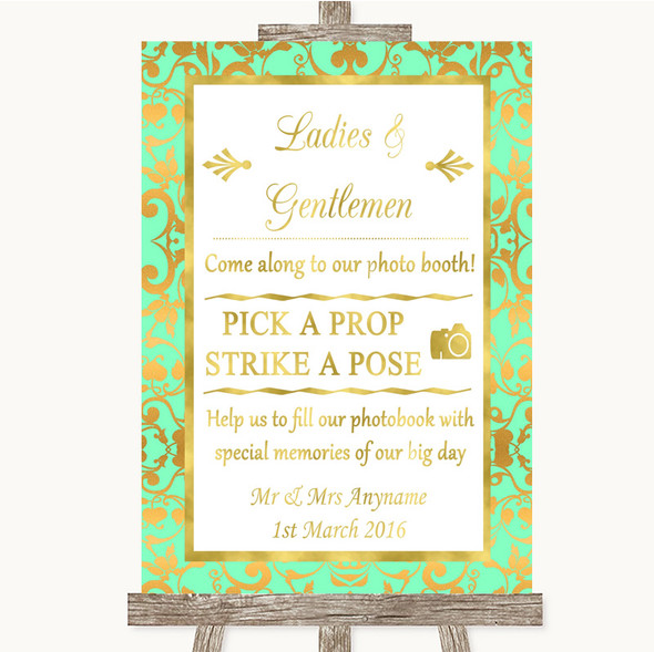 Mint Green & Gold Pick A Prop Photobooth Personalised Wedding Sign