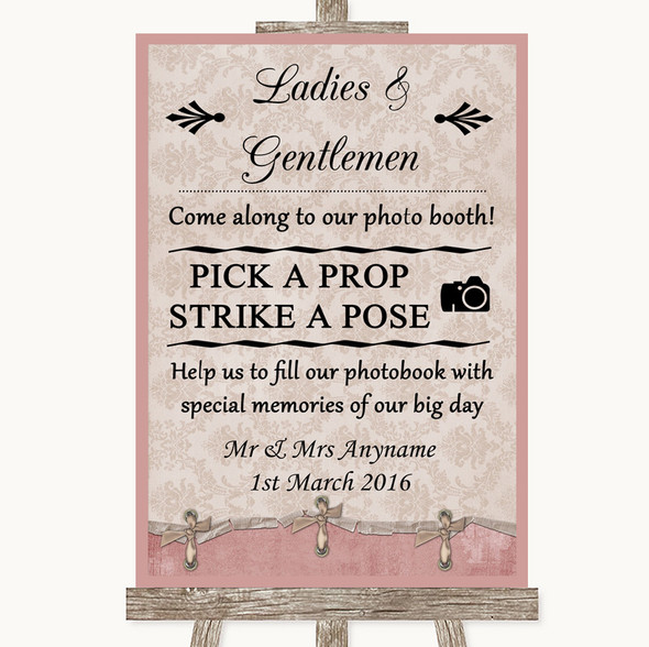 Pink Shabby Chic Pick A Prop Photobooth Personalised Wedding Sign