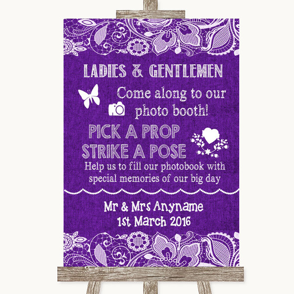Purple Burlap & Lace Pick A Prop Photobooth Personalised Wedding Sign