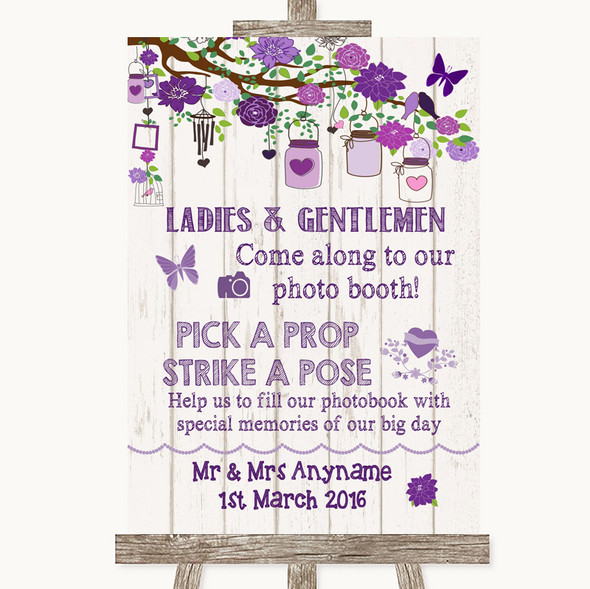 Purple Rustic Wood Pick A Prop Photobooth Personalised Wedding Sign