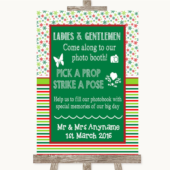 Red & Green Winter Pick A Prop Photobooth Personalised Wedding Sign