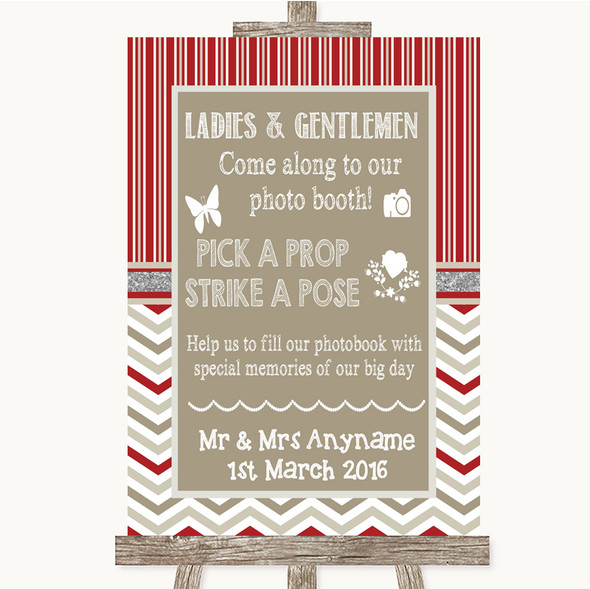 Red & Grey Winter Pick A Prop Photobooth Personalised Wedding Sign