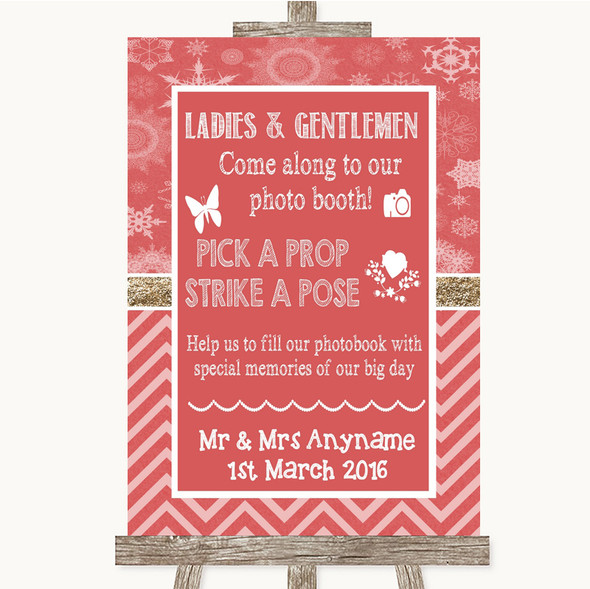 Red Winter Pick A Prop Photobooth Personalised Wedding Sign