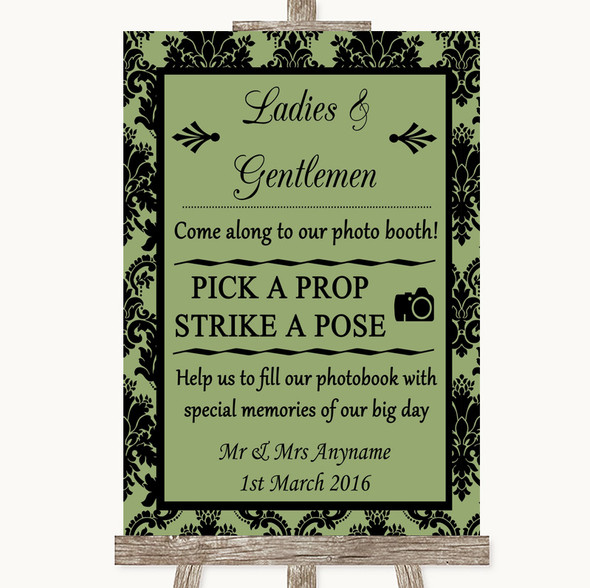 Sage Green Damask Pick A Prop Photobooth Personalised Wedding Sign