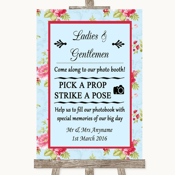 Shabby Chic Floral Pick A Prop Photobooth Personalised Wedding Sign