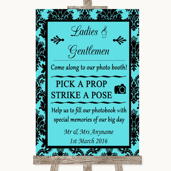 Tiffany Blue Damask Pick A Prop Photobooth Personalised Wedding Sign