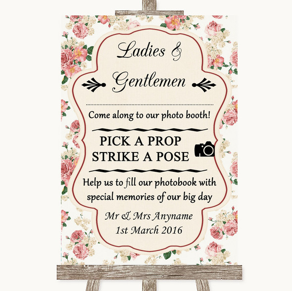 Vintage Roses Pick A Prop Photobooth Personalised Wedding Sign