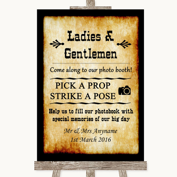 Western Pick A Prop Photobooth Personalised Wedding Sign