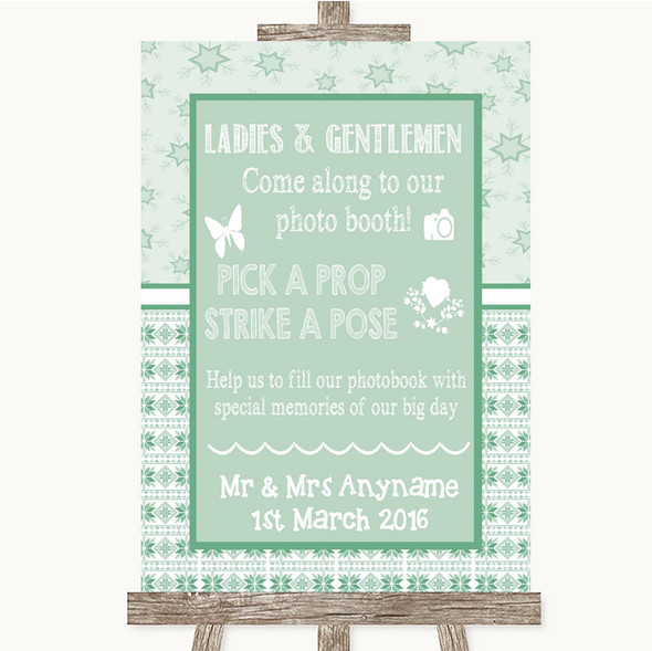 Winter Green Pick A Prop Photobooth Personalised Wedding Sign
