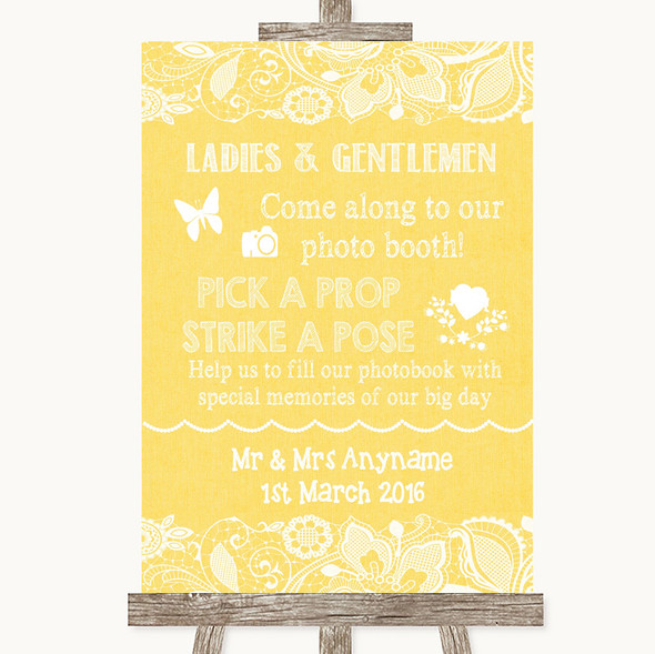 Yellow Burlap & Lace Pick A Prop Photobooth Personalised Wedding Sign