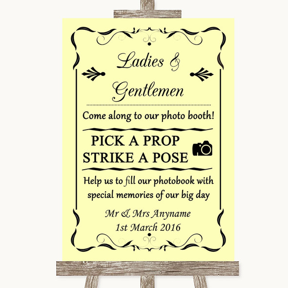 Yellow Pick A Prop Photobooth Personalised Wedding Sign