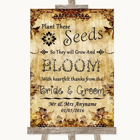 Autumn Vintage Plant Seeds Favours Personalised Wedding Sign