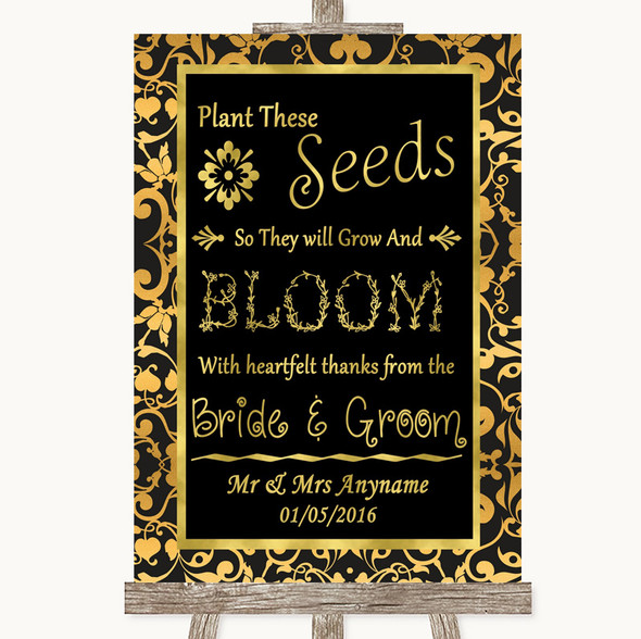 Black & Gold Damask Plant Seeds Favours Personalised Wedding Sign