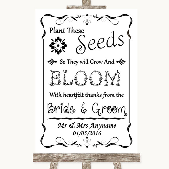 Black & White Plant Seeds Favours Personalised Wedding Sign