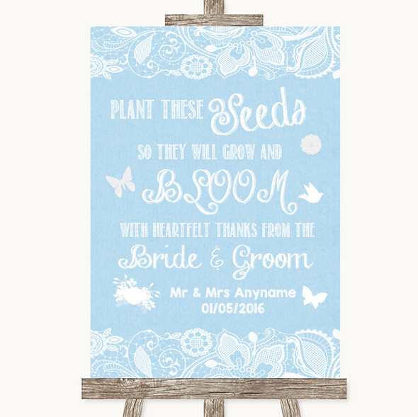 Blue Burlap & Lace Plant Seeds Favours Personalised Wedding Sign