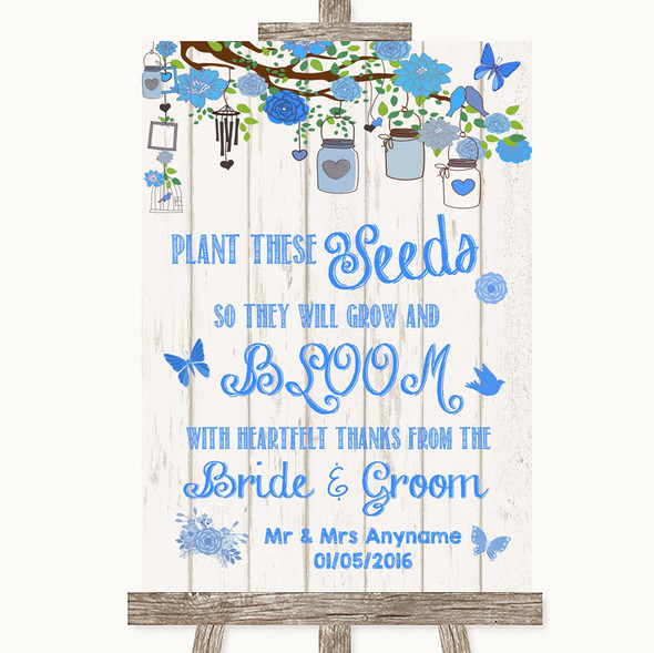 Blue Rustic Wood Plant Seeds Favours Personalised Wedding Sign