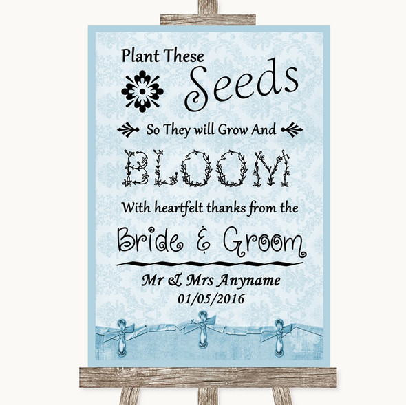 Blue Shabby Chic Plant Seeds Favours Personalised Wedding Sign