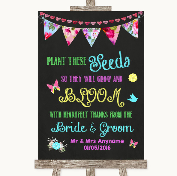 Bright Bunting Chalk Plant Seeds Favours Personalised Wedding Sign
