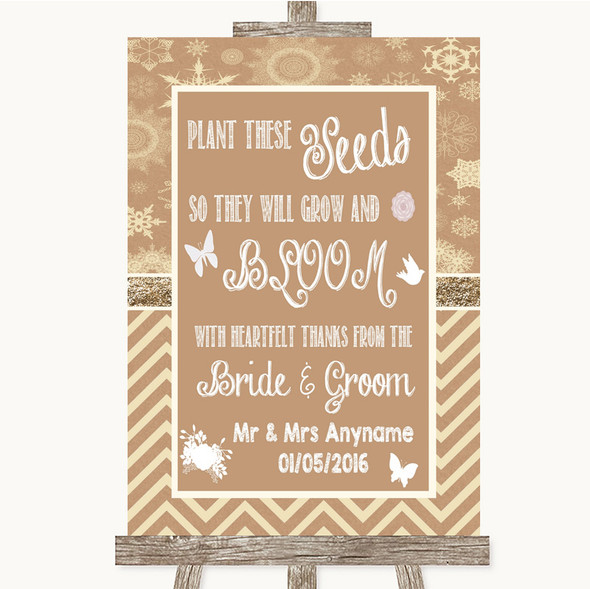 Brown Winter Plant Seeds Favours Personalised Wedding Sign