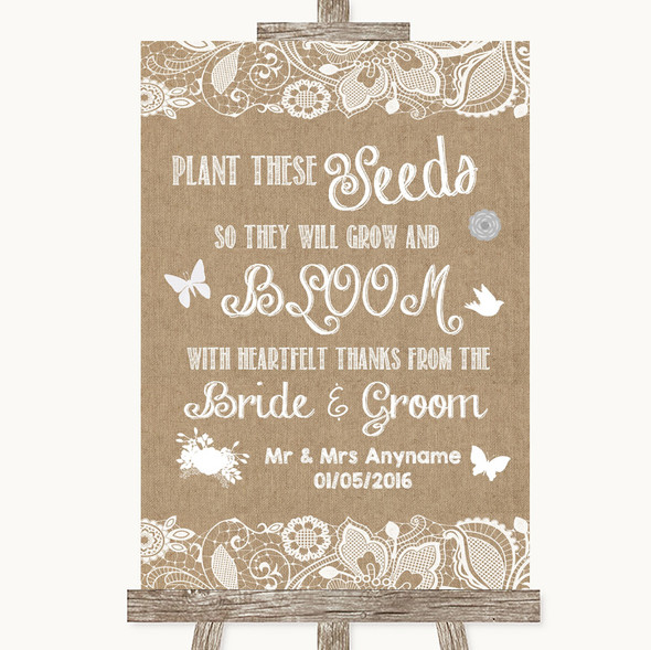 Burlap & Lace Plant Seeds Favours Personalised Wedding Sign
