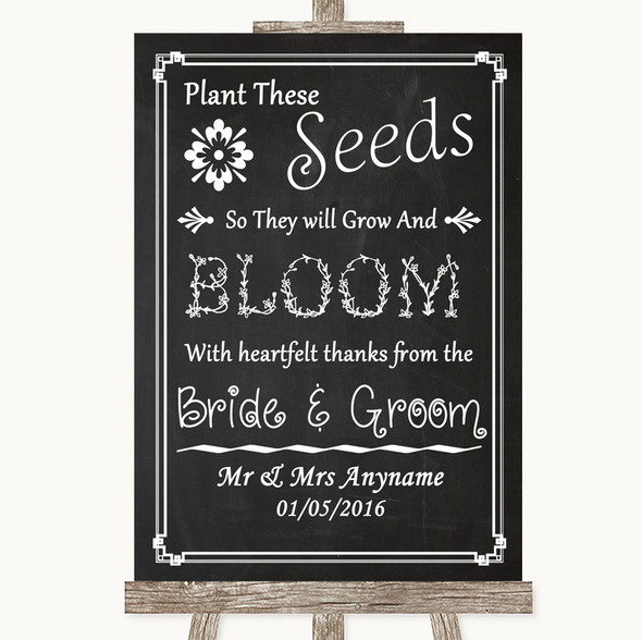 Chalk Style Plant Seeds Favours Personalised Wedding Sign