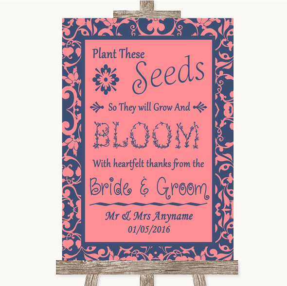 Coral Pink & Blue Plant Seeds Favours Personalised Wedding Sign