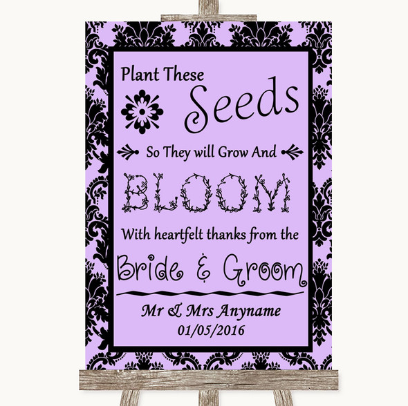 Lilac Damask Plant Seeds Favours Personalised Wedding Sign