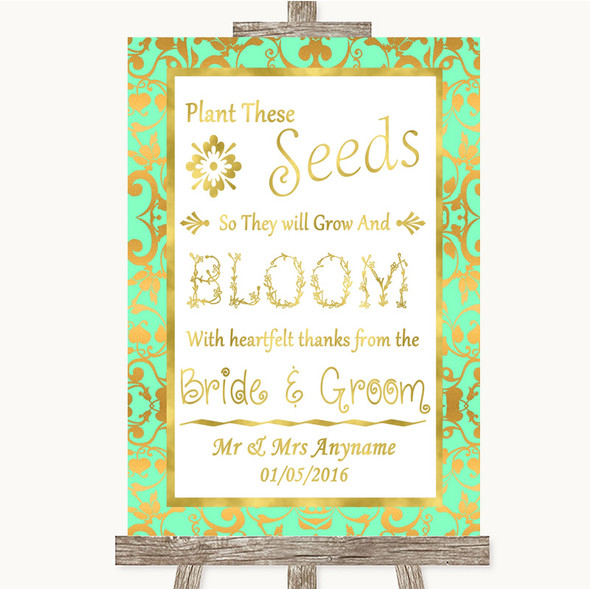 Mint Green & Gold Plant Seeds Favours Personalised Wedding Sign