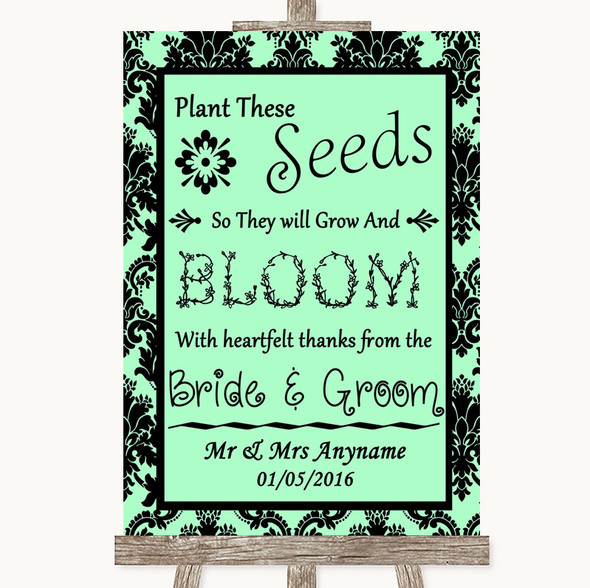 Mint Green Damask Plant Seeds Favours Personalised Wedding Sign