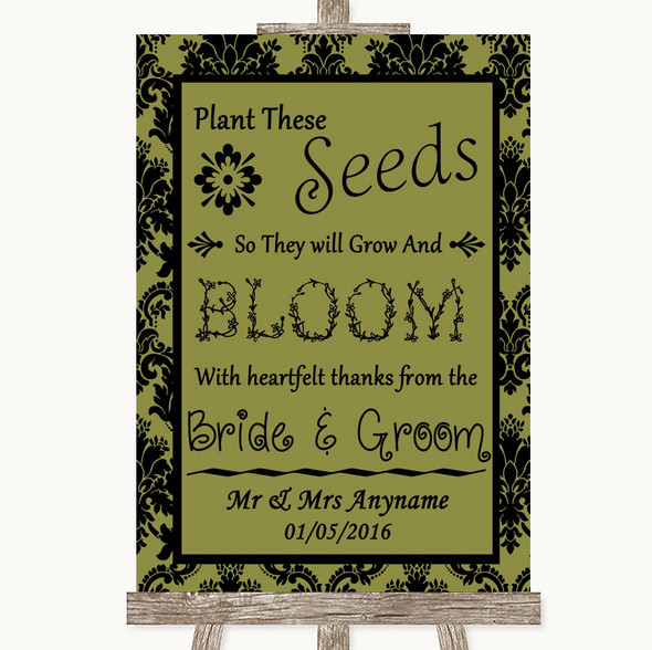 Olive Green Damask Plant Seeds Favours Personalised Wedding Sign