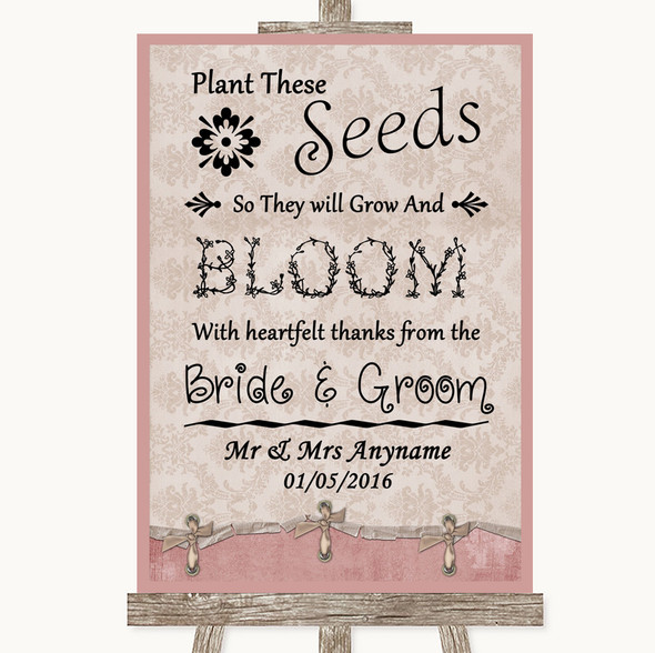 Pink Shabby Chic Plant Seeds Favours Personalised Wedding Sign