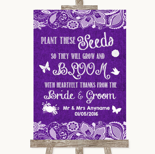 Purple Burlap & Lace Plant Seeds Favours Personalised Wedding Sign