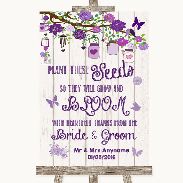 Purple Rustic Wood Plant Seeds Favours Personalised Wedding Sign