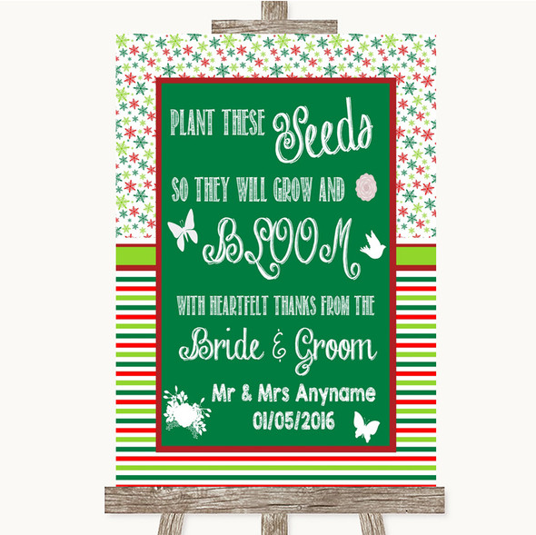 Red & Green Winter Plant Seeds Favours Personalised Wedding Sign