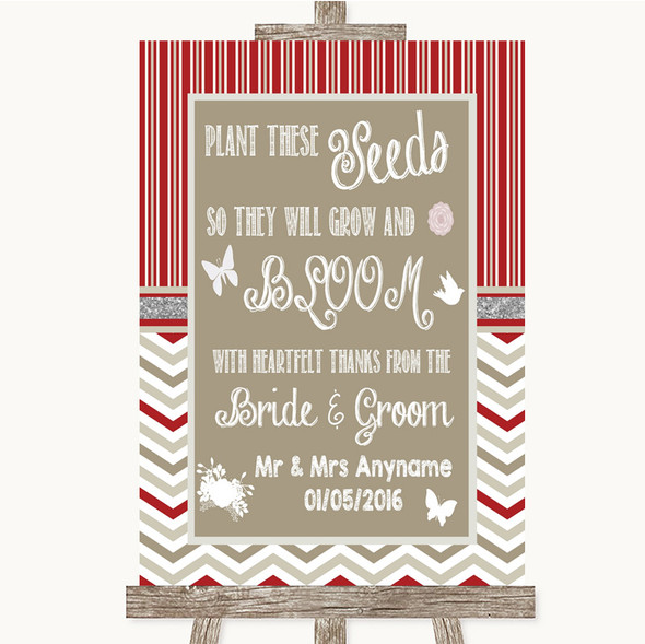 Red & Grey Winter Plant Seeds Favours Personalised Wedding Sign