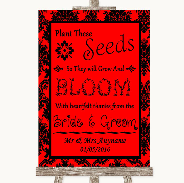 Red Damask Plant Seeds Favours Personalised Wedding Sign