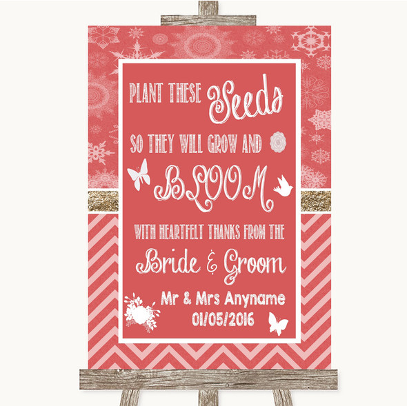Red Winter Plant Seeds Favours Personalised Wedding Sign